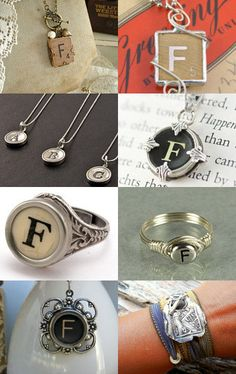 Letter F pendant made from a vintage game piece