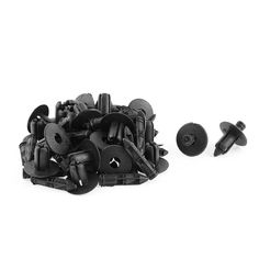 Unique Bargains 30 Pcs Black Plastic Rivet Bumper Mud Interior Weatherstrip Push-Type Fastener
