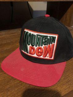 fb7197f02edb6 Retro Mountain Dew Snapback Cap Black with Red Bill and Original Logo   fashion  clothing