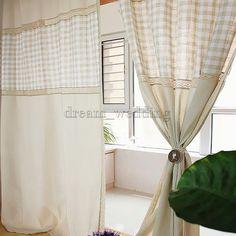 Baumwolle-Leinen-Vorhang-Gardine-Voile-Schlaufenschal-Fenster-Dekor-Landhaus