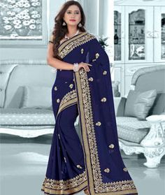Buy Navy Blue Faux Georgette Saree With Blouse 75521 with blouse online at…