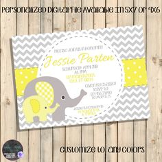 Yellow and Grey Baby Shower Invitation, Yellow and Grey Elephants, Showered with Love, Sprinkled with Love Invite, Elephant Invites, Digital by SquishyDesignsbyMe on Etsy