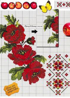 Cross Stitch Thread, Cross Stitch Rose, Cross Stitch Flowers, Cross Stitching, Creative Embroidery, Folk Embroidery, Cross Stitch Embroidery, Needlepoint Patterns, Cross Stitch Patterns