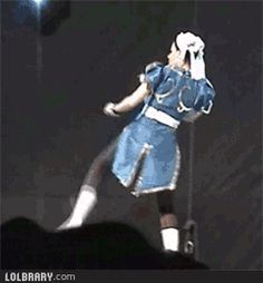 Chun-Li's Lightning Kick Cosplay gif. Pretty badass if you watch.