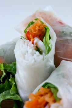 Shrimp Fresh Rolls with a Homemade Peanut-Ginger Dipping Sauce