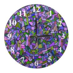 Purple Pink Abstract Mosaic Pattern Wall Clock from Zazzle.com