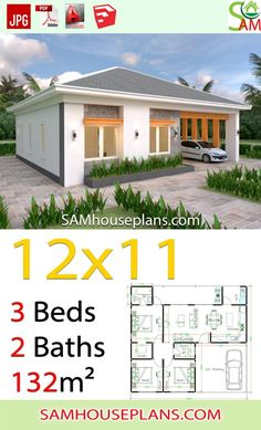 House Plans with 3 Bedrooms Shed roof - Sam House Plans House Layout Plans, My House Plans, Small House Plans, House Layouts, Single Storey House Plans, One Storey House, Modern Bungalow House, Bungalow House Plans, Tiny House