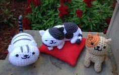 Amigurumi Speckles from Neko Atsume and friends, Mack, Peaches, and Chloe. All designed and crocheted by me, except for Chloe :)