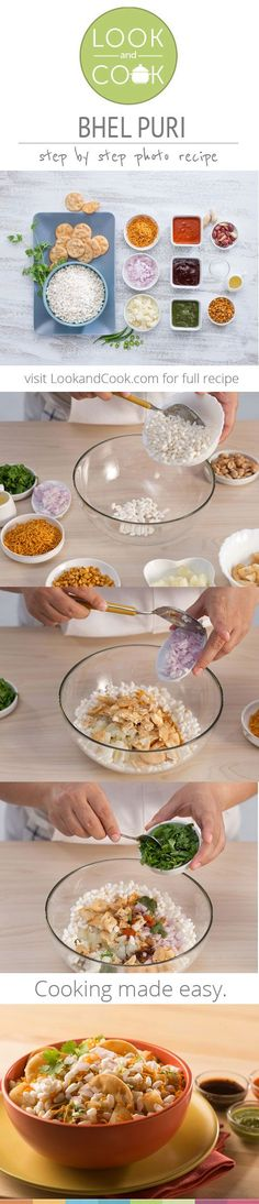 BHEL PURI RECIPE ( The crispy puri with fillings and hot flavoured water will leave a sensational burst of flavour in you mouth. This is an ideal Mumbai street food. Breakfast Snacks, Healthy Breakfast Recipes, Vegetarian Recipes, Cooking Recipes, Snack Recipes, Indian Appetizers, Indian Snacks, Indian Food Recipes, Mumbai Street Food