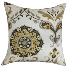 Add a homey vibe to your interiors with this charming floral throw pillow. A combination of geometric and floral pattern adorns this gorgeous accent pillow. The floral prints in shades of yellow, gray and brown are set against a white background makes this decor pillow an ideal highlight piece. Toss this square pillow on your couch, sofa, floor or bed. Made in USA and crafted using 100% cotton fabric. $55.00  #pillow  #tosspillow  #floralprint