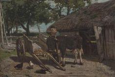 Anthonij 'Anton' Mauve (Zaandam 1838-1888 Arnhem) Het inspannen van de jonge stier - Kunsthandel Simonis en Buunk, Ede (Nederland).