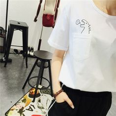 Summer Korean Style Fashion Loose Girl Womens O-neck Short Sleeve Dinosaurs Print Women T shirt