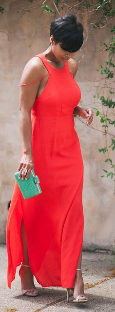 Red Maxi Dress Chic Style                                                                             Source