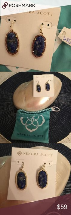 Kendra Scott Janie gold Lapis Earrings NWT 🌺 These stunning KS earrings are brand new. With tag, hanging card and her signature pouch. The Lapis stones are natural with a bumpy texture. They are gold plated with French wires.💍 Kendra Scott Jewelry Earrings