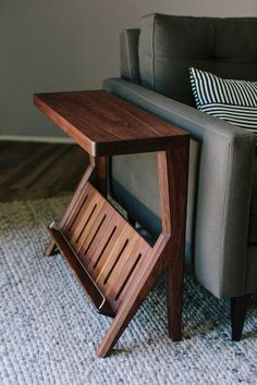 The Zelo Side Table is designed to be unique, beautiful and functional. It not only serves as a shel Plywood Furniture, Walnut Furniture, Woodworking Furniture, Home Decor Furniture, Furniture Decor, Furniture Design, Walnut Chair, Side Table Decor, Table Decor Living Room
