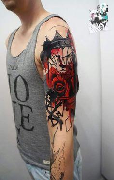 Dynoz Art Attack Crew - [ INK ] :: Tattoos, Trash Polka Tattoos etc. Upper Arm Tattoos For Guys, Rose Tattoos For Men, Tattoos For Women, Time Tattoos, Body Art Tattoos, Sleeve Tattoos, Tattoo Trash, Tattoos For Dog Lovers, Watercolor Rose Tattoos