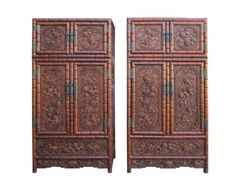 Pair Chinese Rosewood Relief Foo Dog Carving Compound Cabinets SDC1 #ad