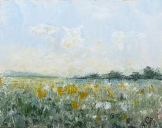 Landscape grass field painting TheEscapeArtist, $55.00  Horizontal orientation feels serene, yet, all those vertical brushstrokes in the foreground tell our mind to be alert and maybe watch our step.