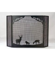 "62""W X 40""H Deer At Dawn Folding Fireplace Screen"
