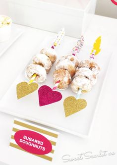 Valentine Donut skewers on striped straws. Gold & Pink glitter & feathers. LeeMaeMarie Blog - Sweet Scarlet Designs Feature