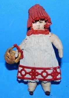 Antique German Cotton Paper Scrap Red Riding Hood Girl Ornament w/ Basket