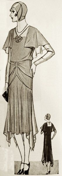 1920s sewing pattern. Dress with semi-cape and very by Contrapunt