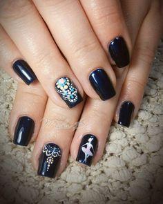 Black nails, dots , love nails ,ballerina