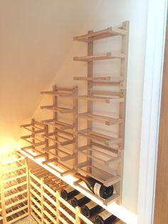 Hutten wall-mounted Side-on Wine Racking - IKEA Hackers Ikea Wine Rack, Wine Rack Wall, Wine Cellar Racks, Wine Bottle Rack, Wine Cellars, Wine Shelves, Wine Storage, Dvd Storage, Crate Shelves