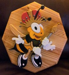 Scroll saw; Queen Bee (intarsia), the first of 4 bees I'll be finishing. A tribute to my great g-pa and g-pa's honey business.