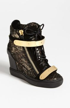 Giuseppe Zanotti Wedge Sneaker available at Wedge Ankle Boots, Shoe Boots, Shoes Heels, Boot Wedges, Sneaker Heels, Wedge Sneakers, Sneakers Nike, Nike Wedges, Womens Shoes Wedges