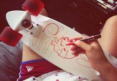 iamcaty, caty aguilera, designer, design, skateboard, duster, longboard, cruiser, ace, posca, art, graffiti, girl, streetart