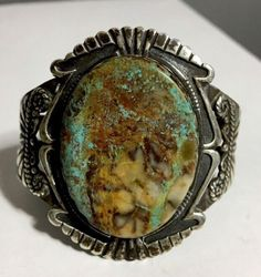 EARLY-RARE-Crow-Springs-Bolder-Turquoise-Bracelet-Cuff-60grams