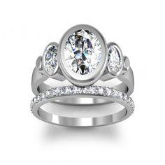 3 stone oval diamond bezel set ring - Google Search