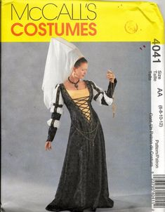 Free Usa Shipping McCalls 4041 Renaissance Medieval Gown Dress Undergarment Hat Costume Size Size 6 8 10 12 Bust 34 Uncut by LanetzLiving on Etsy Renaissance Corset, Medieval Gown, Medieval Costume, Medieval Fantasy, Costume Patterns, Sewing Patterns, Dress Patterns, Medieval Theatre, Gown Pattern