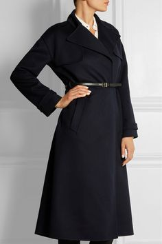 Valentino navy belted wool and cashmere-blend trench coat
