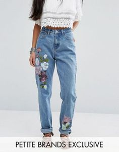 Glamorous Petite Boyfriend Jean With Painted Floral