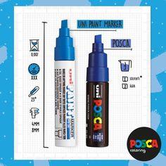 SALVE! Ainda não conhece as diferenças entre a POSCA e a Uni Paint Marker? Chega com a gente:  A POSCA é o marcador a base d' água, com a maior variação de pontas e cores. Ela adere permanentemente em superfícies mais porosas, como madeira, argila, papel e em paredes. Já a Uni Paint Marker tem sua base em solvente, é a irmã da POSCA, e funciona melhor em zonas mais lisas: vidros, porcelanas, plástico, acrílico, etc.  Já deu pra perceber que juntas elas são imbatíveis, né?… Posca Marker, Markson, Hand Lettering, Surface, Clays, Pens, Wood, Paper, Colors