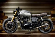 The Maltese Falcon: A Triumph Bonneville cafe racer with Ducati forks by Macco Motors. - Bike EXIF