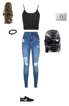 """Untitled #2053"" by anamaria-zgimbau ❤ liked on Polyvore featuring Topshop, Lipsy, NIKE and Music Notes"