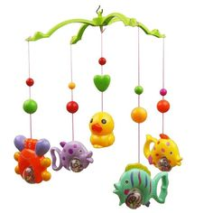 Music Bed Bell Set Funny Fish Crab and Duck Baby Crib Mobile Music Bed Bell Educational Toy