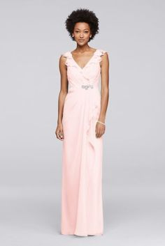 The fluttering cap sleeves framing the plunging V-neckline on this ultra-flattering long chiffon bridesmaid dress are made even prettier thanks to the gathered bodice and carefully curated beaded applique.  Wonder by Jenny Packham  Back zipper; fully lined  Dry clean  Imported