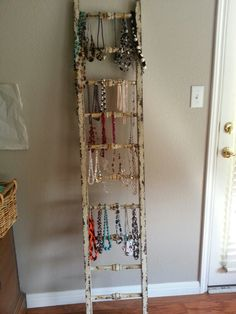 Antique ladder to hold necklaces Antique Ladder, Ladders, Ladder Decor, My House, Mall, Necklaces, Bedroom, Antiques, Home Decor