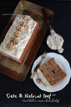 Date & Walnut Loaf with Sweet Date and Cream Cheese Frosting