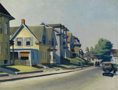 Sun On Prospect Street (Gloucester, Massachusetts) by Edward Hopper, 1934. Oil on canvas, 28 x 36 1/4 in. (71.1 x 92.1 cm).