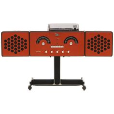 1965 Vintage Brionvega RR126 Rare Brick Red Am Fm Stereo Radio and Turntable | See more antique and modern Collectibles and Curiosities at https://www.1stdibs.com/furniture/more-furniture-collectibles/collectibles-curiosities