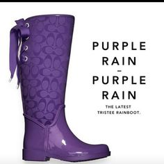 Purple Coach rain boots. Great with a purple umbrella and why not add a purple raincoat?  For all your purple purchases, visit BlissList.  https://itunes.apple.com/us/app/blisslist-easy-shopping-gifting/id667837070