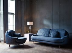 Lee Broom oak and wool Quilt armchair & sofa