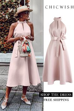 Lady in pink halter neck midi dress - dress Unique Fashion, Womens Fashion, Elegantes Outfit, Date Outfits, African Fashion, Pink Ladies, Fashion Dresses, Midi Dresses, Party Dress