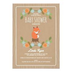 Faux Kraft Paper Floral Fox Baby Shower Invitation