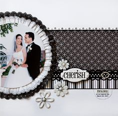 Cherish - Scrapbook.com   Use this idea for Tessa and Kyle--Red, black and white